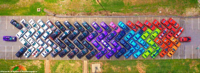 Aerial Shot of Dodge Challenger Rainbow