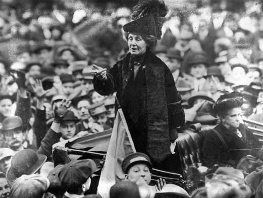 Emmeline Pankhurst in a car