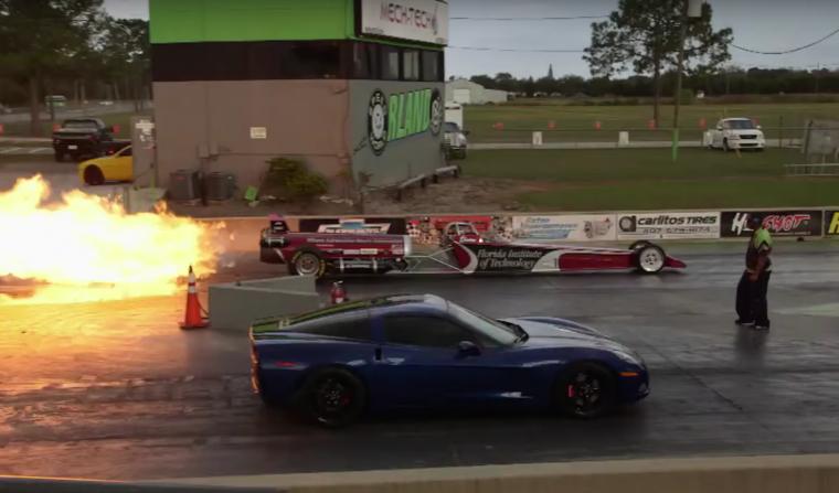 Jay Leno C6 Corvette vs Jet Dragster