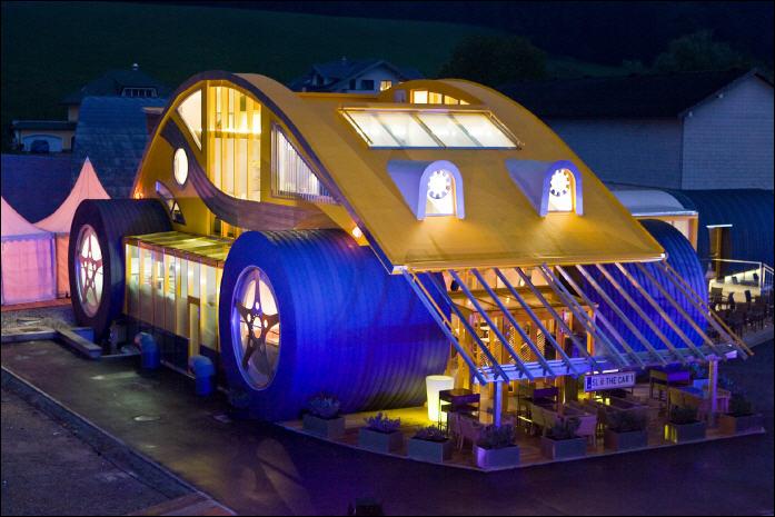 restaurant  austria    giant vw beetle  news wheel