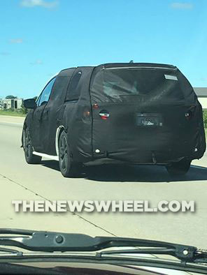 Spy shot taken of the 2018 Odyssey prototype as it was tested near Honda headquarters in Ohio