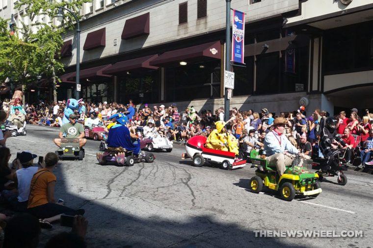 Power Racing Series themed vehicles at Dragon Con Atlanta Parade