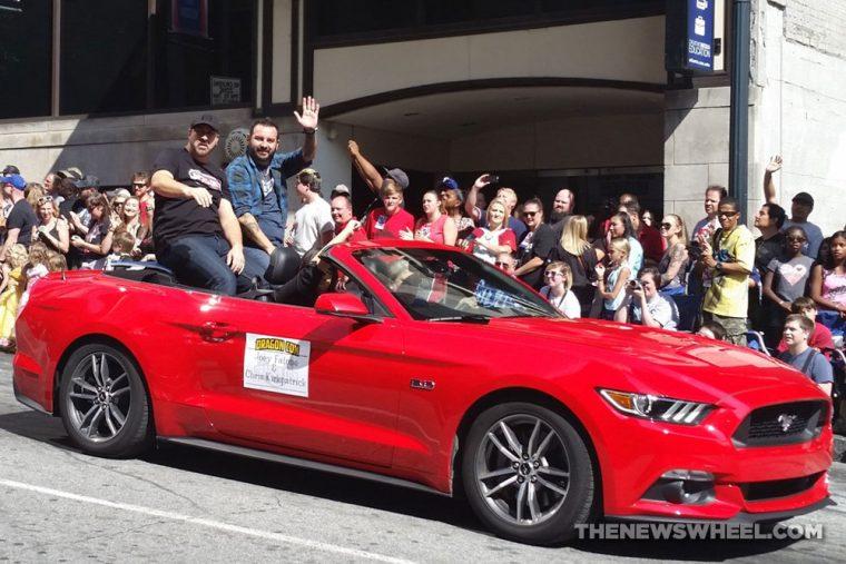 Red Ford Mustang NSYNC Joey Chris at Dragon Con Atlanta Parade