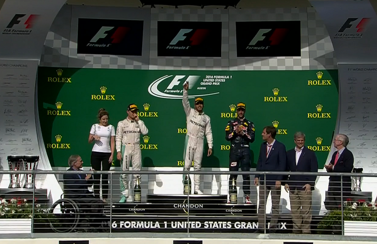 On the podium, from left to right: Nico Rosberg, Lewis Hamilton, and Daniel Ricciardo.