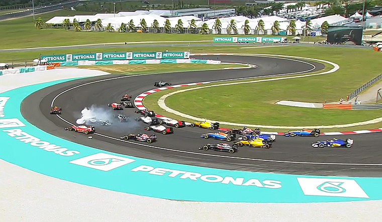 Rosberg facing the wrong direction at the first corner