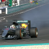Hamilton's car catches on fire
