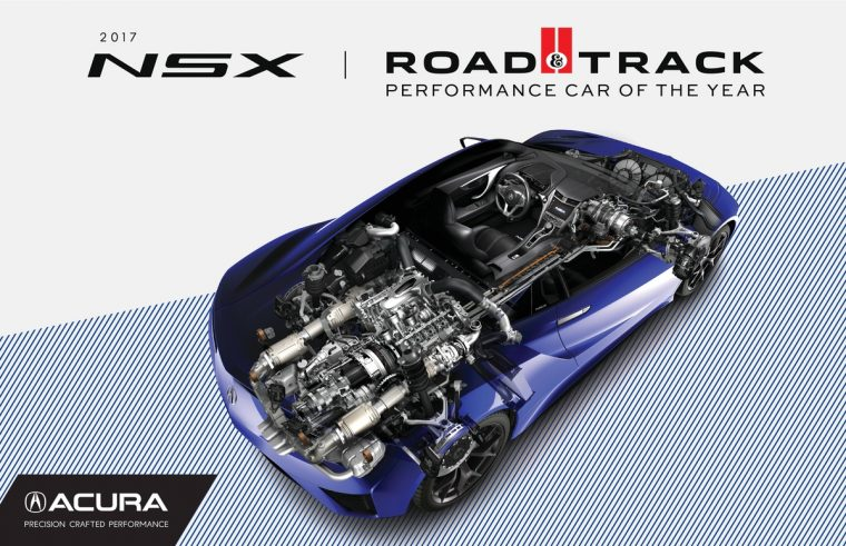 2017 Acura NSX wins Road & Track magazine's 2017 Performance Car of the Year award