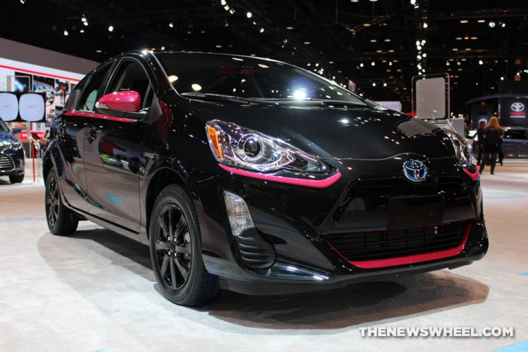 Black pink Toyota Prius c at Chicago Auto Show