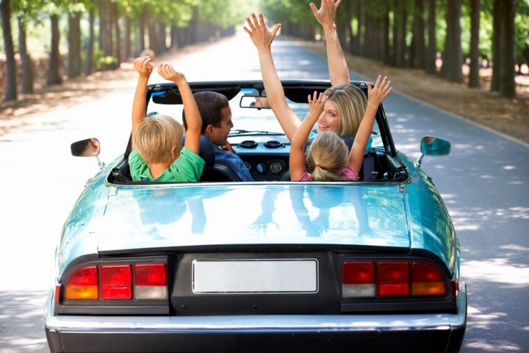 family-road-trip-games-convertible-happy-hands-up