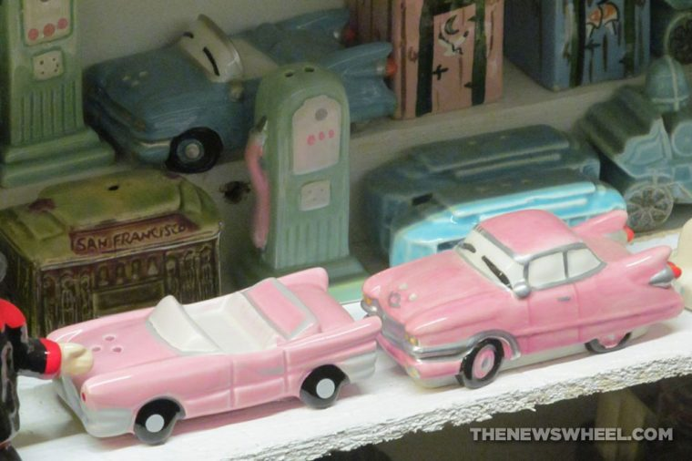 Car Themed Salt and Pepper shakers Automotive novelty pink