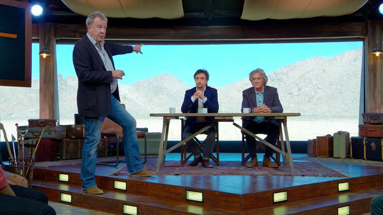 Clarkson, Hammond, and May in the tent