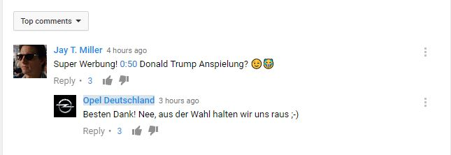 YouTube Comment Opel Racing Faces
