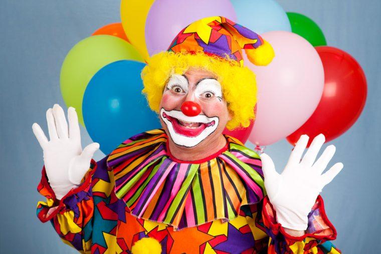 clown car balloons happy man laugh circus