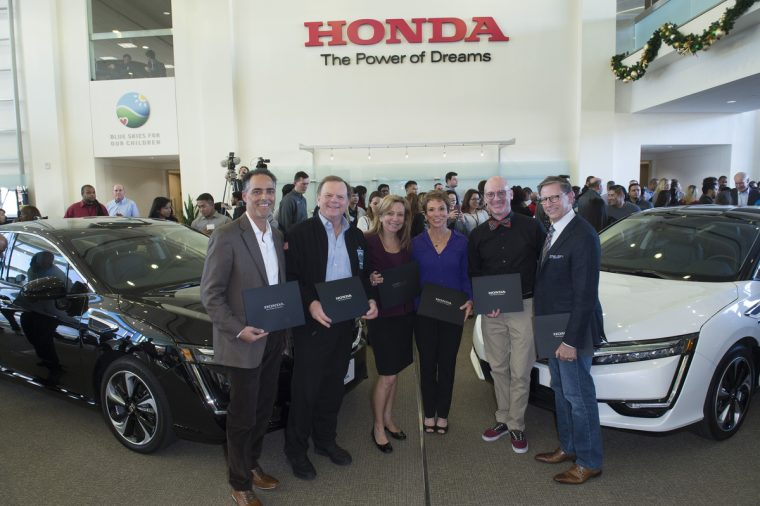 The first six 2017 Clarity Fuel Cell customers (left to right) Jon Spallino, Terry Tamminen, Karen Thorp, Jackie Keller, Jack Cusick, and Jim Salomon at Honda's Torrance campus on December 19th