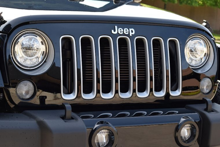 The Jeep Wrangler is offered with new LED headlights for the 2017 model year