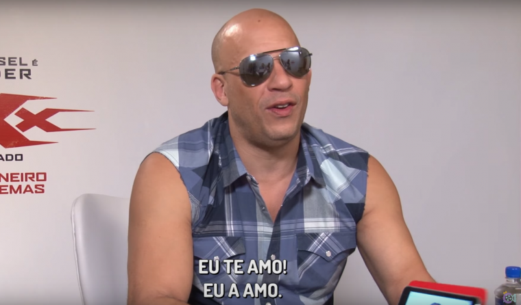 """I love you"" Vin Diesel says to interviewer Carol Moreira, who does not reciprocate"