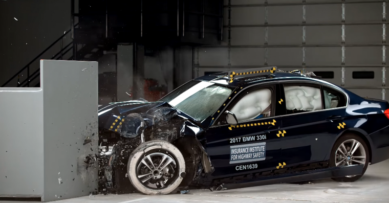 The results of the small overlap front crash test for the 2017 BMW 3 Series Photo: The Insurance Institute for Highway Safety