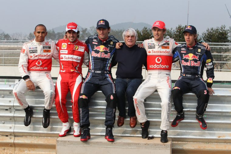 From left: Lewis Hamilton, Fernando Alonso, Mark Webber, Bernie Ecclestone, Jenson Button, and Sebastian VettelPhoto: Bertho RF1