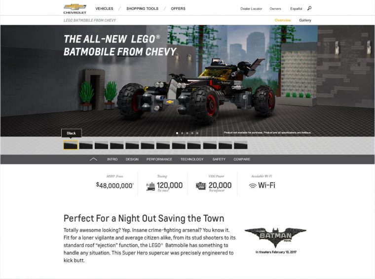 The all-new LEGO® Batmobile from Chevrolet. Learn more at Chevy.com