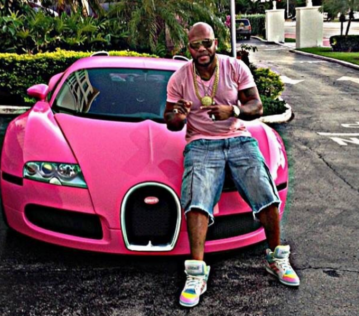 Would you have ever guessed that Flo Rida drives a bright pink Bughatti?