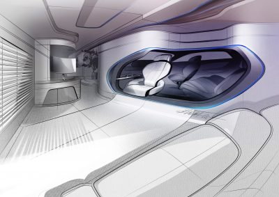 Hyundai Mobility Vision Smart House connected car room at CES concept drawing