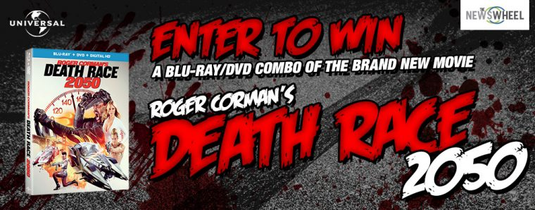 Roger Corman Death Race 2050 movie giveaway enter to win DVD Blu-Ray prize banner
