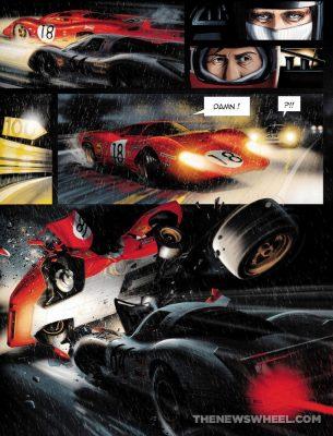 Steve McQueen in Le Mans graphic novel comic book review Garbo Studios racing art