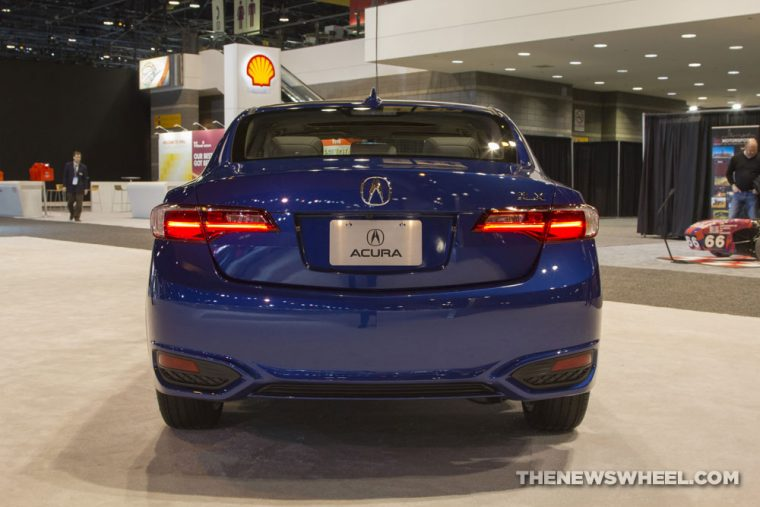 2017 Acura ILX blue sedan car on display Chicago Auto Show