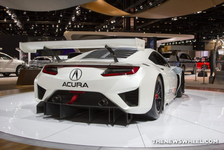 2017 Acura NSX GT3 white racecar on display Chicago Auto Show