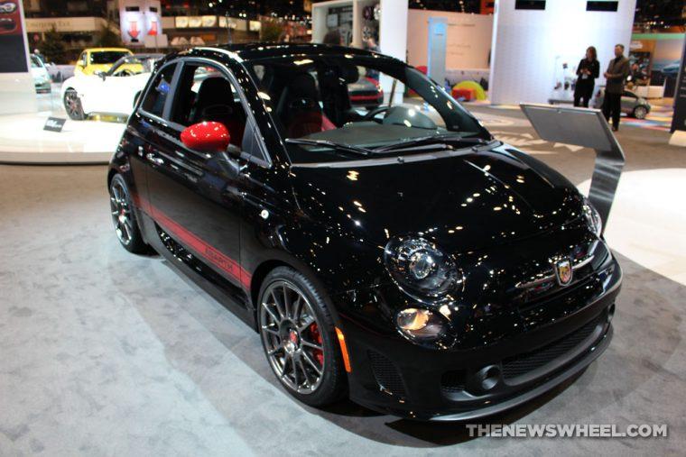 2017 Fiat 500 Abarth black sedan car on display Chicago Auto Show
