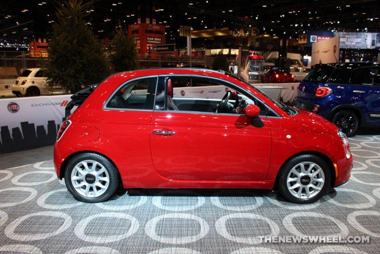 2017 Fiat 500 Cabrio red sedan car on display Chicago Auto Show