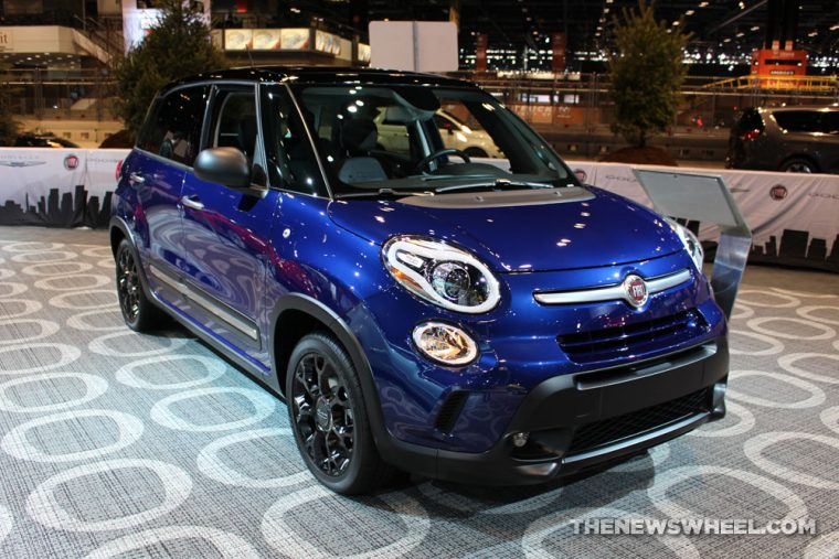 2017 Fiat 500L blue sedan car on display Chicago Auto Show