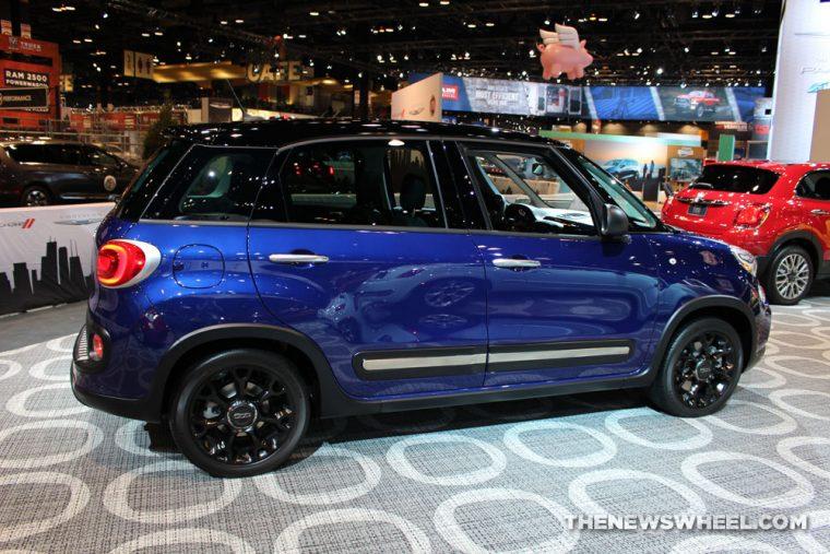 2017 Fiat 500L blue sedan car on display Chicago Auto Show