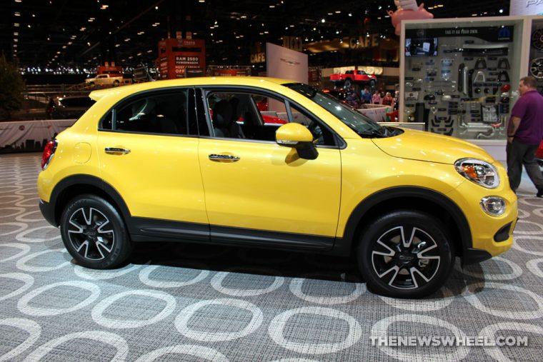 2017 Fiat 500X yellow sedan car on display Chicago Auto Show