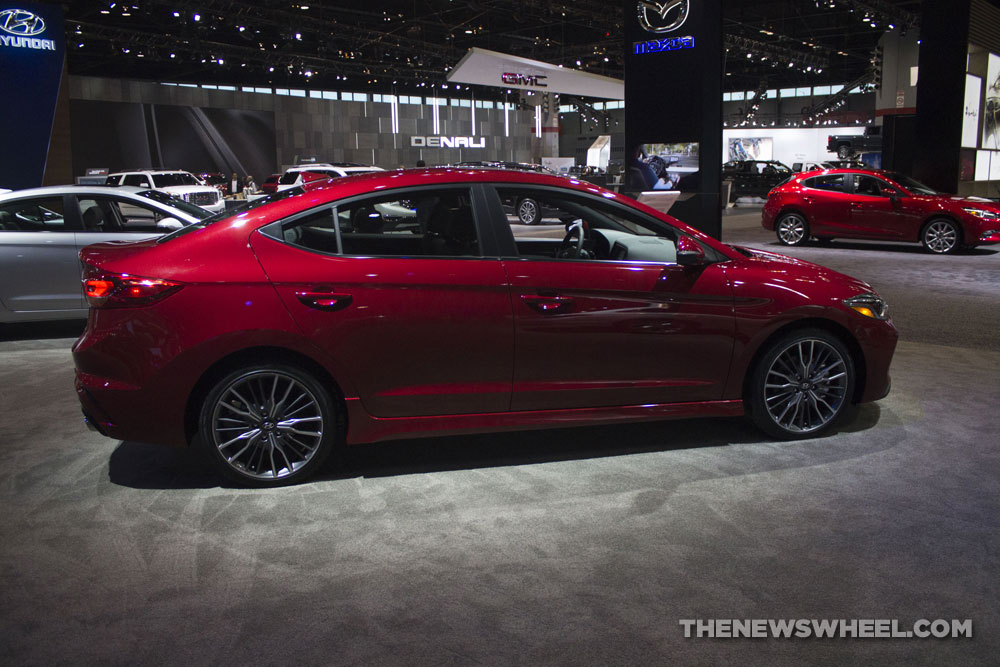 2017 Hyundai Elantra Sport red sedan at Chicago Auto Show