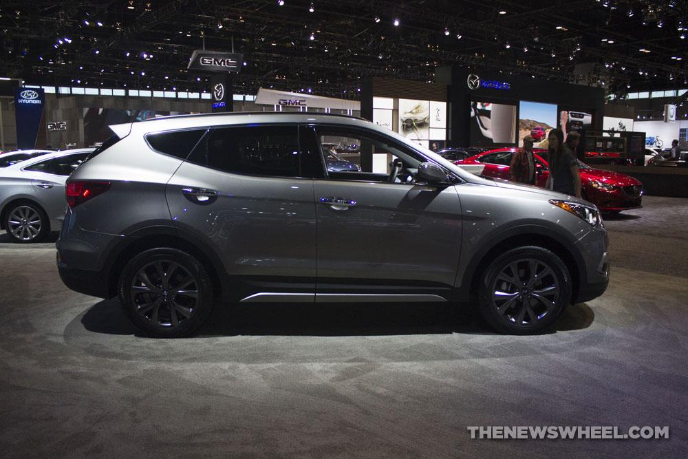 2017 Hyundai Santa Fe Sport crossover silver SUV display Chicago Auto Show