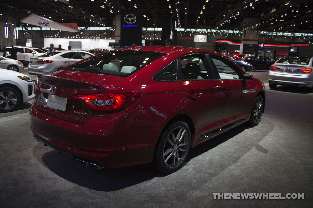 2017 Hyundai Sonata Sport 2.0T red sedan car on display Chicago Auto Show