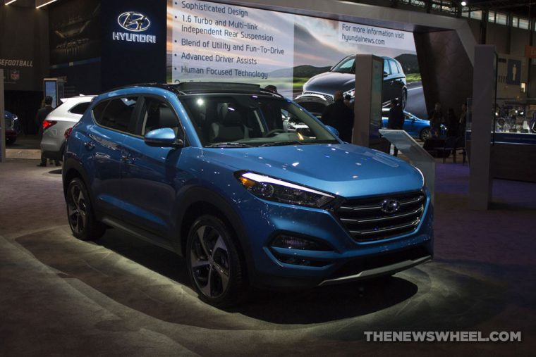 2017 Hyundai Tucson Limited 1.6T SUV at Chicago Auto Show blue