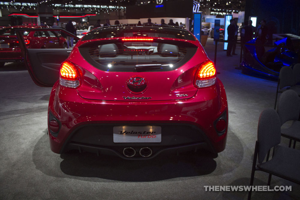 2017 Hyundai Veloster Turbo red car body Chicago Auto Show