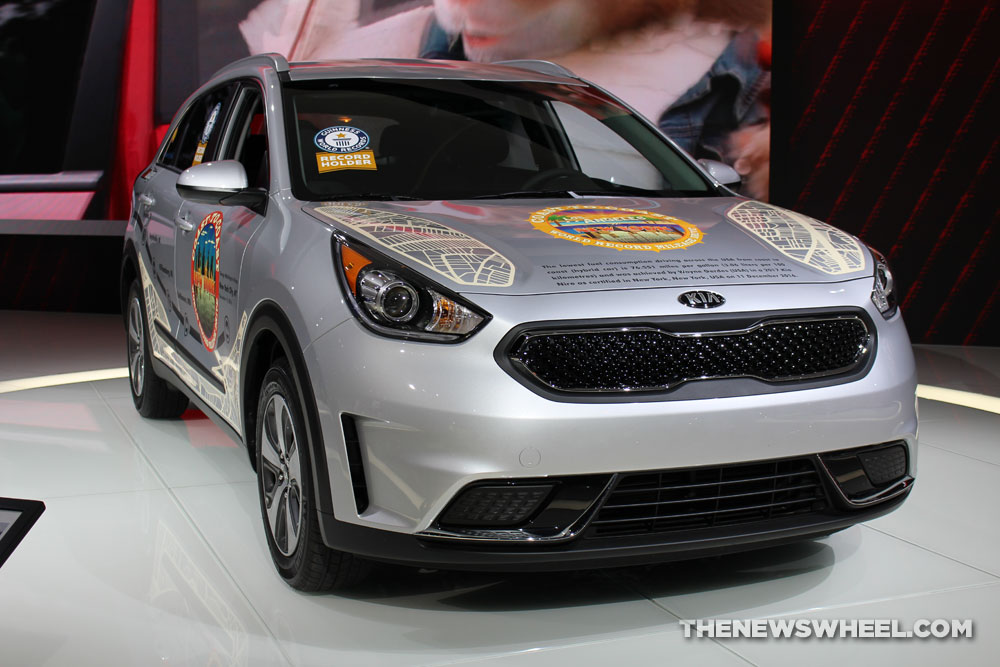 2017 Kia Niro Guinness World Record silver SUV on display Chicago Auto Show