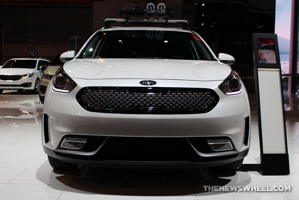 2017 Kia Niro white SUV on display Chicago Auto Show