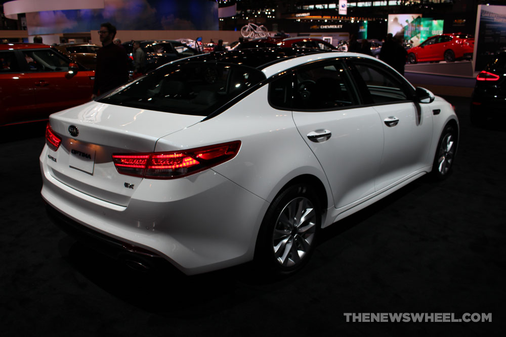 2017 Kia Optima white sedan car on display Chicago Auto Show