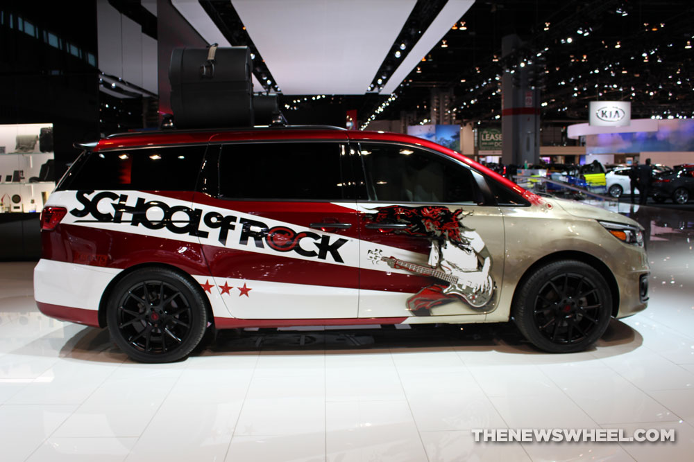 2017 Kia Sedona School of Rock white van on display Chicago Auto Show