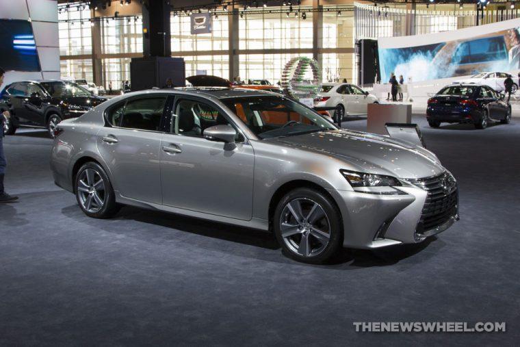 2017 Lexus GS 350 silver sedan car on display Chicago Auto Show