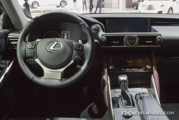 2017 Lexus IS 300 blue sedan car on display Chicago Auto Show