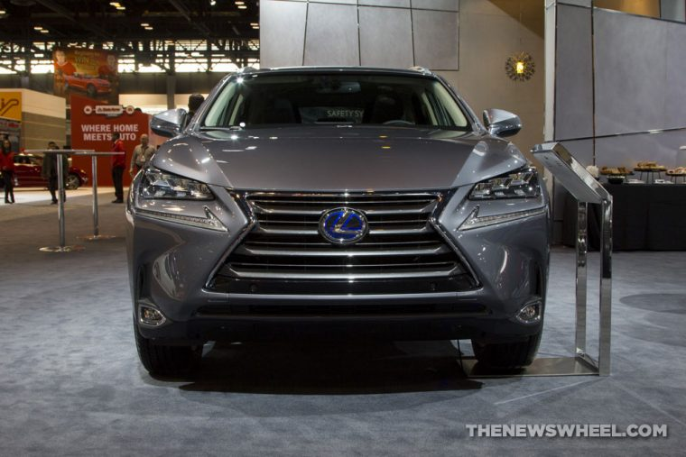 2017 Lexus NX 300h silver SUV on display Chicago Auto Show