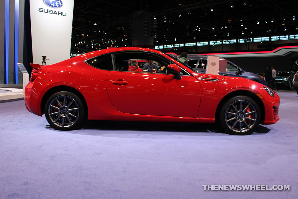 2017 Subaru BRZ Limited red car on display Chicago Auto Show