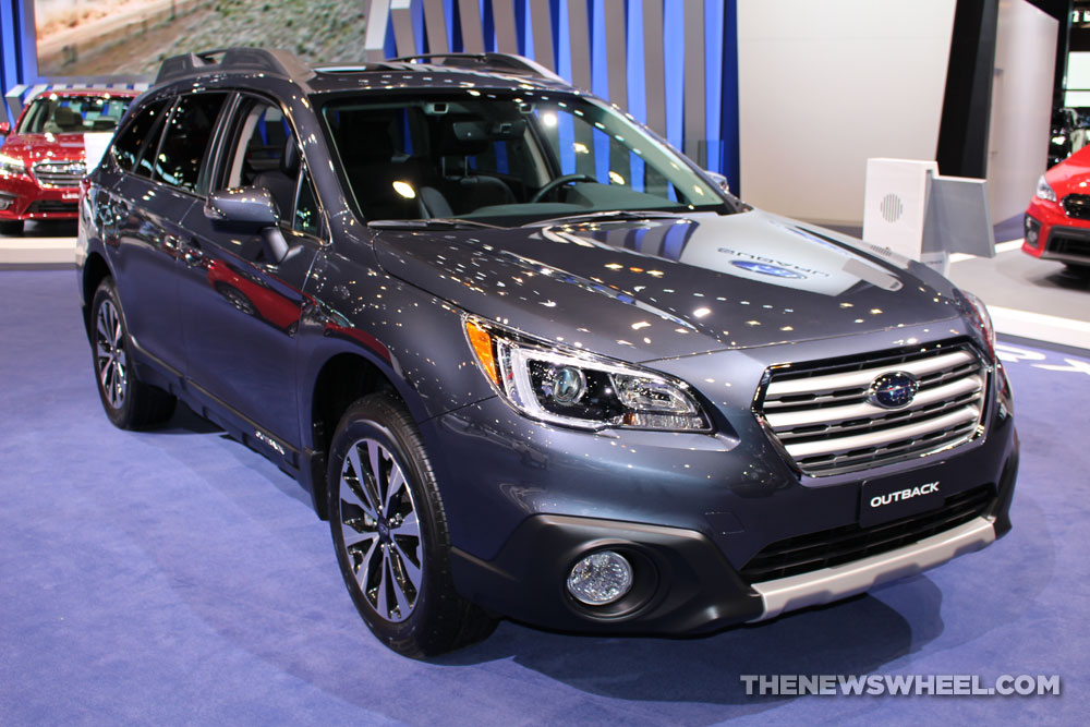 2017 Subaru Outback Limited gray SUV on display Chicago Auto Show