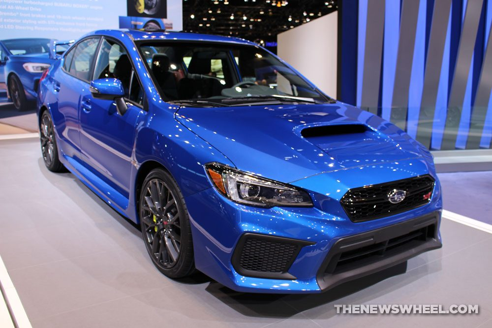 2017 Subaru WRX STI blue sedan car on display Chicago Auto Show