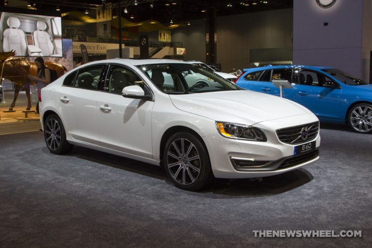 2017 Volvo S60 white sedan car on display Chicago Auto Show
